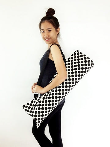 Handmade Yoga Mat Bag Yoga Bag Sports Bags Tote Yoga Sling bag Pilates Bag Pilates Mat Bag  WITH Black Dots