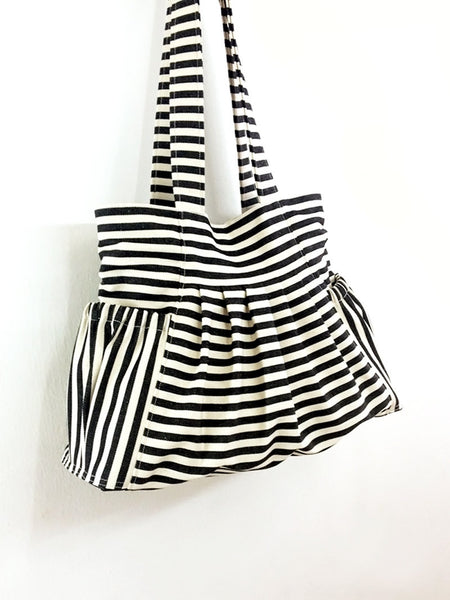 Striped Denim bag Canvas Bag Shoulder bag Hobo bag Tote bag Woman bag Handbags - Cream&Black - Judy, VeradaShop, HaremPantsThai