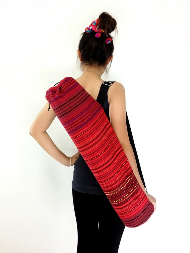 Handmade Yoga Mat Bag Yoga Bag Sports Bags Sling bag Pilates Bag Pilates Mat Bag Woven Cotton bag Red (WF2)