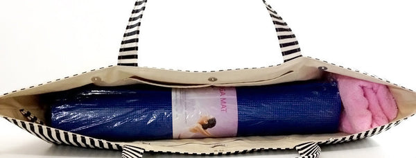 Thai Handmade Woven Yoga Mat Bag Striped Denim Sports Bags Pilates Mat Bag, VeradaShop, HaremPantsThai