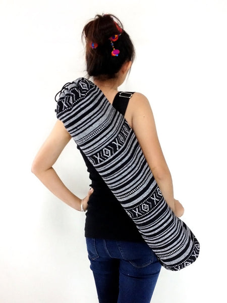 Handmade Yoga Mat Bag Yoga Bag Sports Bags Sling bag Pilates Bag Pilates Mat Bag Woven Bag Women bag Woven Cotton bag Black & White (WF1)