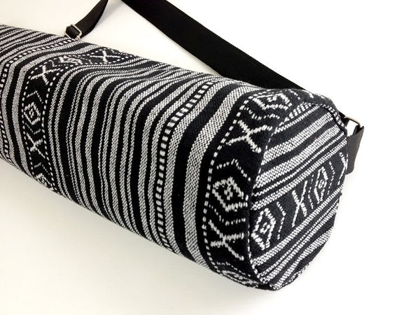 Thai Handmade Woven Yoga Mat Bag Sports Bags Pilates Mat Bag Black & White (WF1)