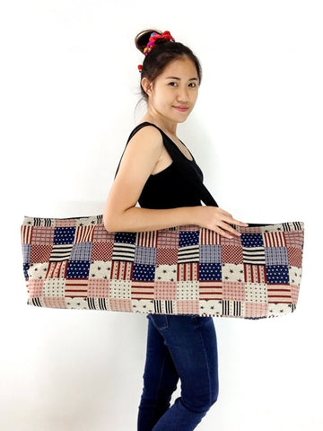 Handmade Yoga Mat Bag Sports bags Woven Cotton Yoga Bag Tote Yoga Sling bag Pilates Bag Pilates Mat Bag  American flag bag