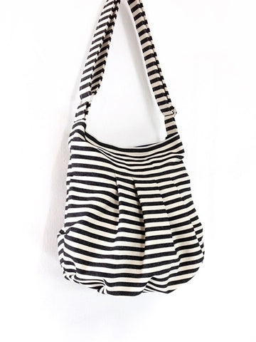 Striped Denim bag Cotton bag Canvas Bag Diaper bag Shoulder bag Hobo bag Tote bag bag Handbags Purse Cream&Black Tracy2