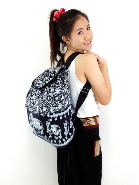 Cotton Bag Hippie bag Hobo bag Boho bag Backpack Tote bag Elephant Black, VeradaShop, HaremPantsThai