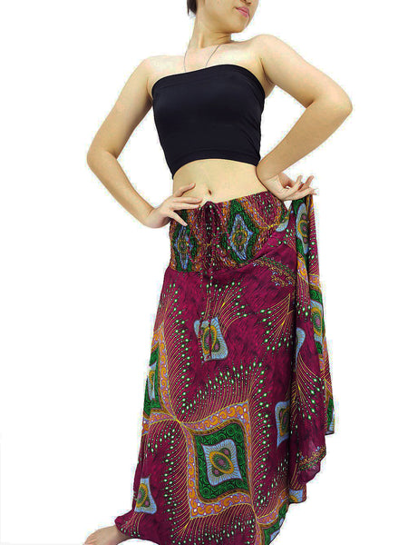 Women Maxi Dress Gypsy Dress Skirt Rayon Dress Skirt Boho Dress Hippie Dress Summer Beach Dress Long Skirt Clothing Maroon Pink (DS51)