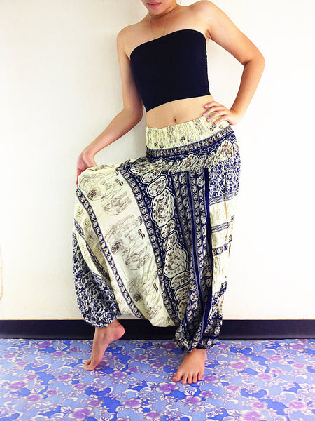 Handmade Harem Pants Yoga Pants Aladdin Pants Boho Gypsy Rayon Jumpsuit Elephant Cream Blue (HP15)