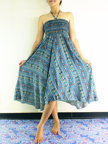 Thai Women Clothing Natural Cotton Convertible Dresses Skirts Blue (DS2)