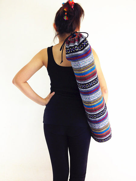 Handmade Yoga Mat Bag Yoga Bag Sports Bags Tote Yoga Sling bag Pilates Bag Pilates Mat Bag Woven Cotton bag (WF14)