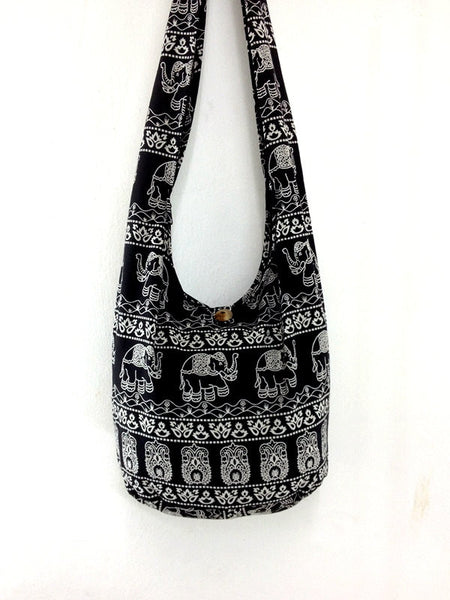 Handbags Cotton Printed bag Elephant bag Hippie Hobo Boho bag Shoulder bag Sling bag Tote bag Crossbody Black, VeradaShop, HaremPantsThai