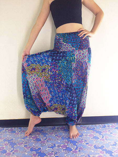 Handmade Harem Pants Jumpsuits Rayon Bohemian Hippie Boho Pants Blue Purple Pink (HP37)