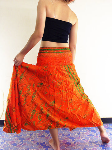 Thai Women Clothing Natural Cotton Convertible Dresses Skirts Orange (DS10)