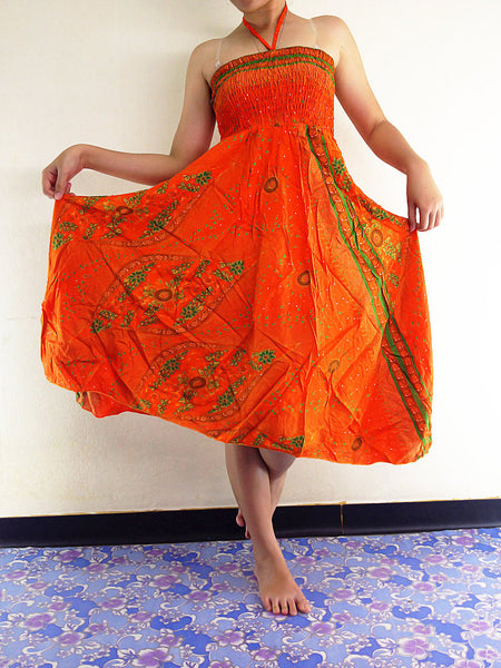 Natural Cotton Convertible Dresses Skirts Orange (DS10), NaughtyGirl, HaremPantsThai