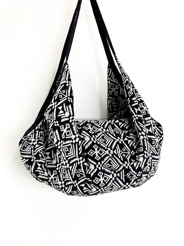 Woven Bag Backpack Hippie bag Hobo bag Boho bag Shoulder bag Tote Handbags Travel Bag Crossbody Bag Gypsy Bag Black & White