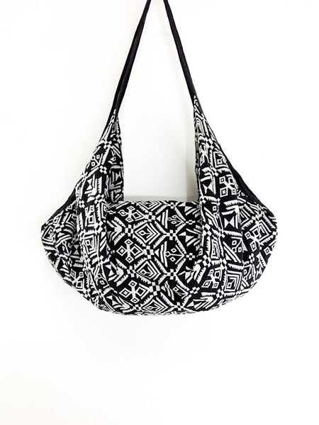 Woven Bag backpack Hobo Boho bag Shoulder Bag Crossbody Bag Gypsy Bag Black & White, VeradaShop, HaremPantsThai