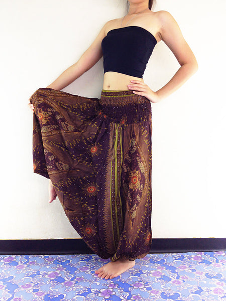 Handmade Harem Pants Yoga Pants Aladdin Pants Boho Pants Gypsy Jumpsuits & Brown (HP76)