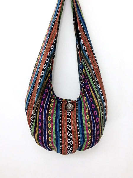 Woven Cotton bag Hobo Boho bag Shoulder Bag Elephant button Short straps (WF33), VeradaShop, HaremPantsThai
