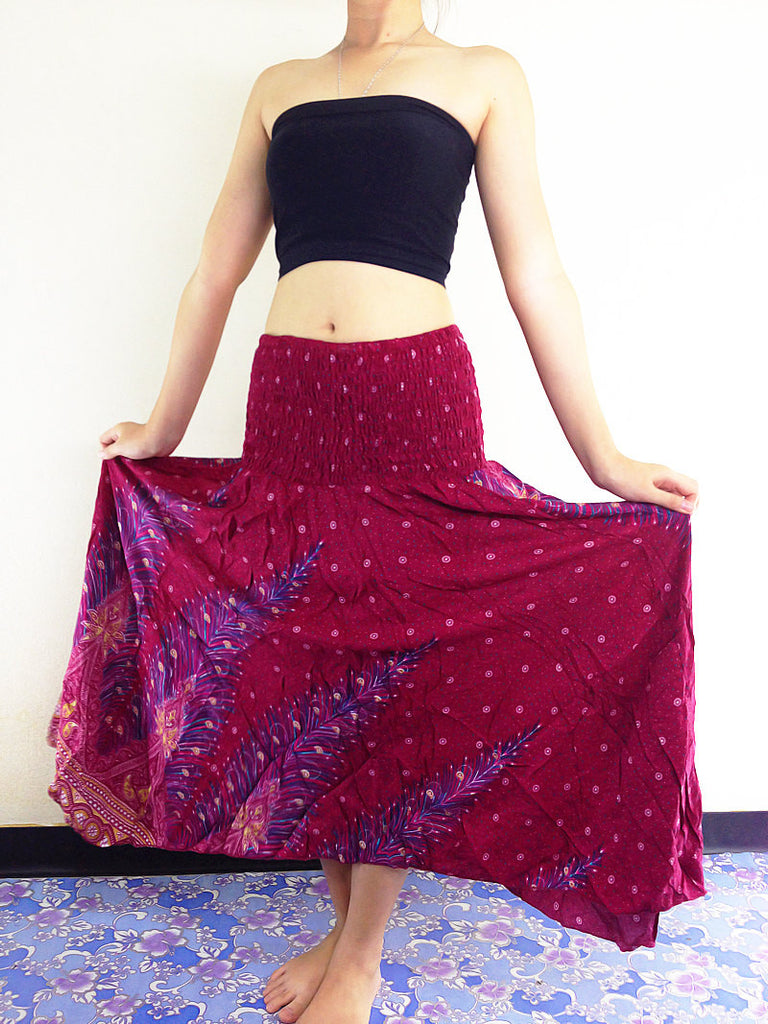 Thai Women Clothing Natural Cotton Convertible Dresses Skirts Dark Red (DS28)