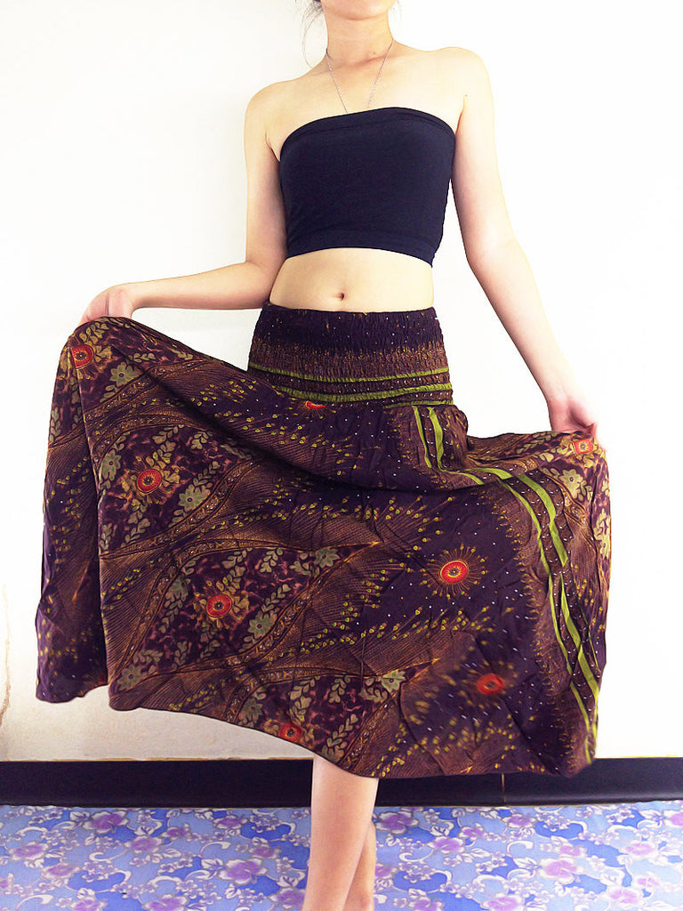 Thai Women Clothing Natural Cotton Convertible Dresses Skirts Brown (DS31)