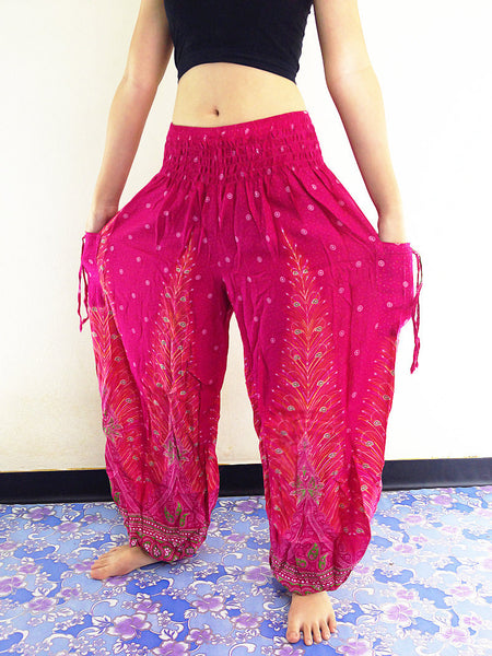 Handmade Harem Trousers Rayon Bohemian Trousers Hippie Boho Pants Hot Pink (TS39)