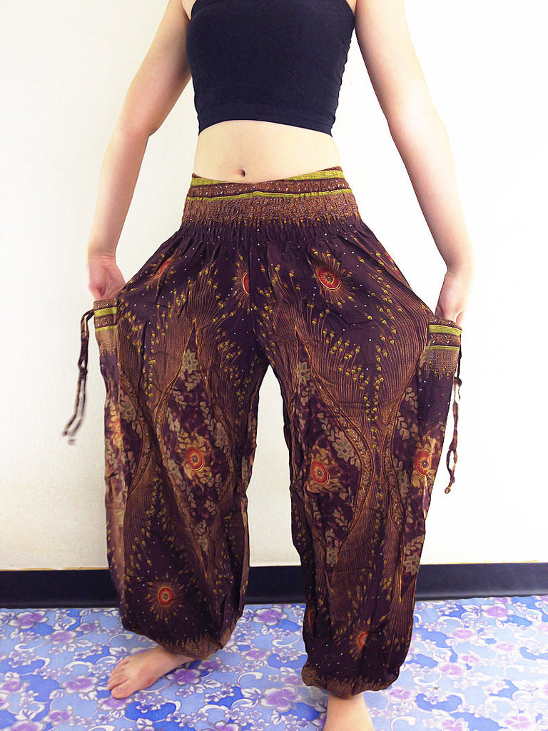 Handmade Harem Trousers Rayon Bohemian Trousers Hippie Boho Pants Brown (TS44)