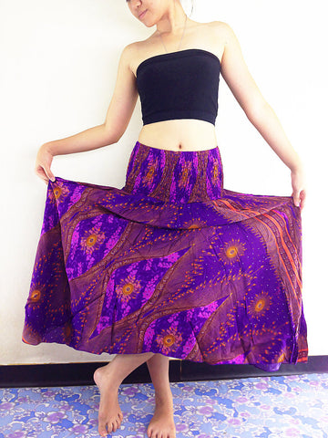 Thai Thai Women Clothing Natural Cotton Convertible Dresses Skirts Purple Violet(DS30)