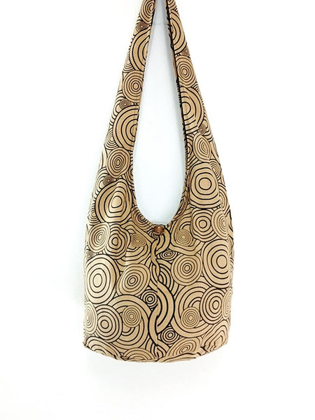 Cotton Handbags Hippie bag Hobo bag Boho bag Shoulder bag Sling bag Tote bag Crossbody bag Beige, VeradaShop, HaremPantsThai