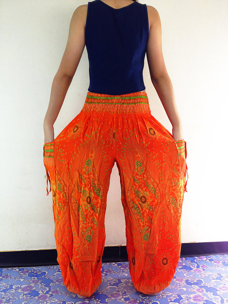 Handmade Harem Trousers Rayon Bohemian Trousers Hippie Boho Pants Orange (TS65)