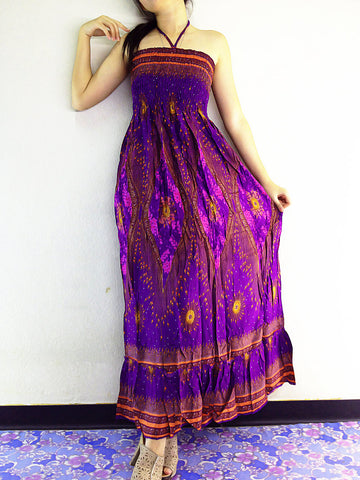 Thai Women Clothing Rayon Maxi Dress Hobo Hippie Boho Bohemain Hippie Gypsy Style Printed Violet Purple (DL16)