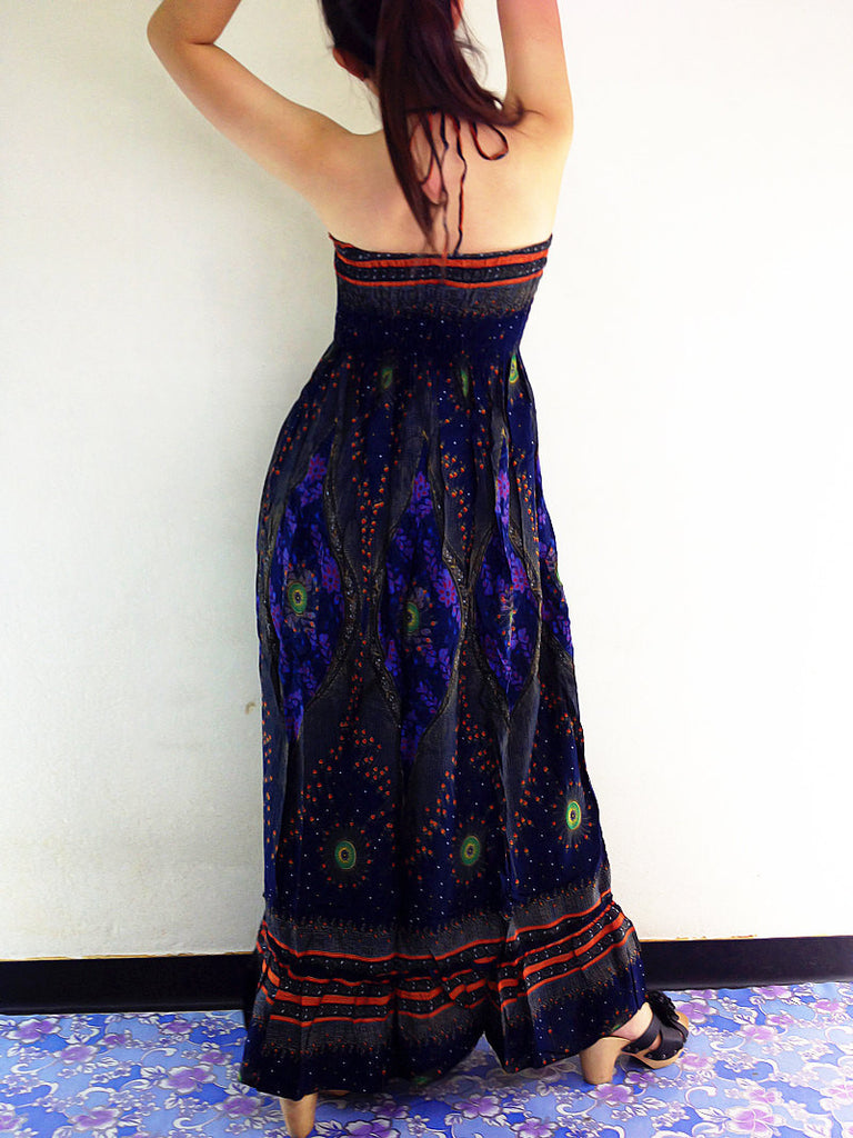 Thai Women Clothing Rayon Maxi Dress Hobo Hippie Boho Bohemain Hippie Gypsy Style Printed Navy Blue (DL17)