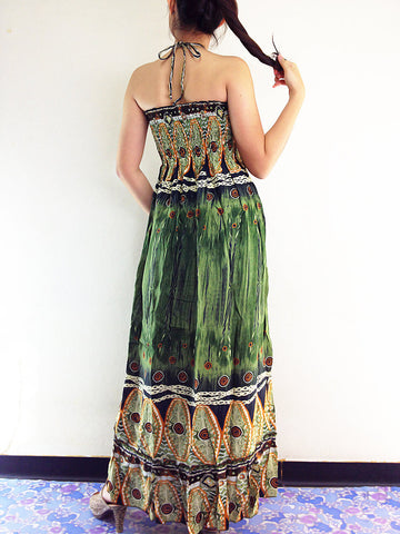 Thai Women Clothing Rayon Maxi Dress Hobo Hippie Boho Bohemain Hippie Gypsy Style Printed Olive Green (DL1)