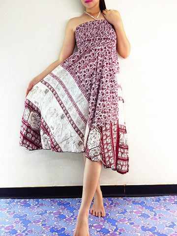 Thai Women Clothing Natural Cotton Convertible Dresses Skirts Elephant Dark Red (DS42)