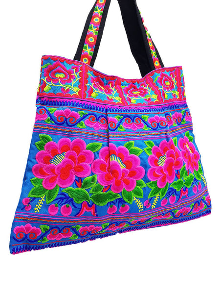 Hill Tribe Bag Hmong Bag Thai Cotton Bag Embroidered Ethnic Purse Woven Bag Hippie Bag Hobo Boho Bag Shoulder Bag Flower Blue Pink HTB1-6