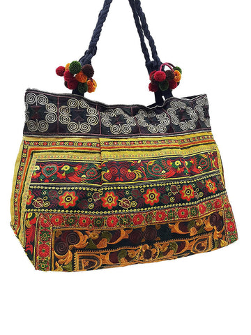 Hill Tribe Bag Pom Pom Hmong Thai Cotton Bag Embroidered Ethnic Purse Woven Bag Hippie Bag Hobo Bag Boho Bag Shoulder Bag Brown Gold HTB2P11