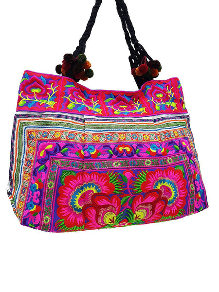 Thai Hill Tribe Bag Pom Pom Hmong Thai Cotton Bag Embroidered Ethnic Purse Woven Bag Hippie Bag Hobo Bag Boho Bag Shoulder Bag Flower HTB2P6