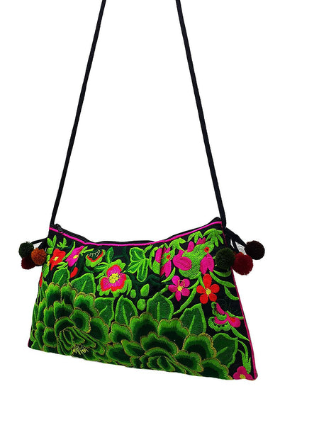 Thai Hill Tribe Bag Pom Pom Hmong Thai Bag Embroidered Ethnic Purse Woven Bag Hippie Bag Clutch Sling Bag Crossbody Bag Flower Green HTP13
