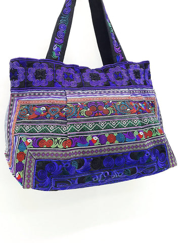 Thai Hill Tribe Bag Hmong Bag Cotton Bag Embroidered Ethnic Purse Woven Bag Hippie Bag Hobo Bag Boho Bag Shoulder Bag Bird Dark Blue HTB2-8