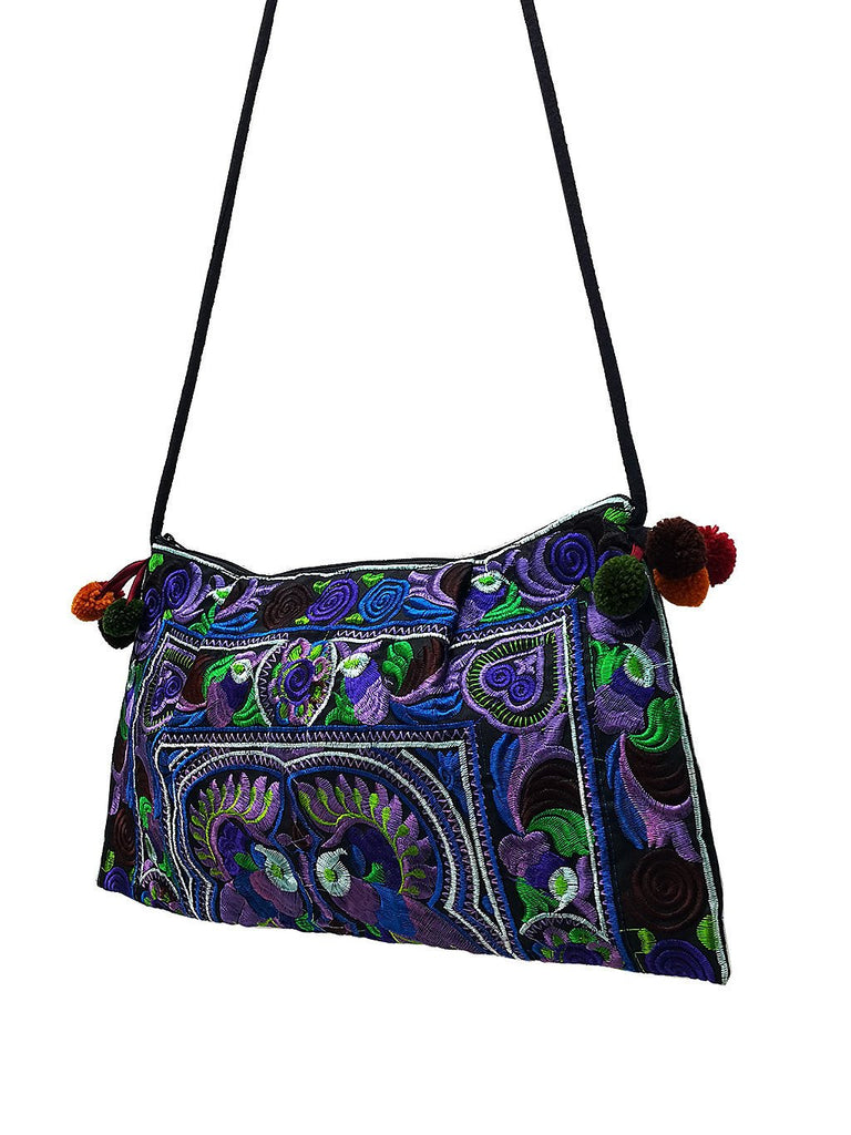 Thai Hill Tribe Bag Pom Pom Hmong Thai Bag Embroidered Ethnic Purse Woven Bag Hippie Bag Clutch Sling Bag Crossbody Bag Bird Blue HTP20