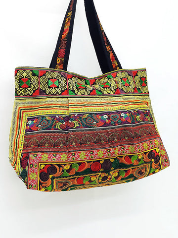 Hill Tribe Bag Hmong Bag Cotton Bag Embroidered Ethnic Purse Woven Bag Hippie Bag Hobo Bag Boho Bag Shoulder Bag Bird Yellow Gold HTB2-7