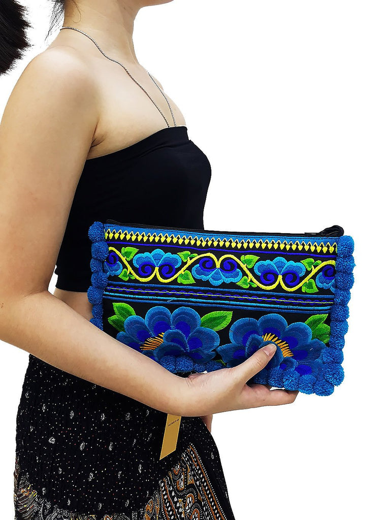 Thai Hill Tribe Bag Pom Pom Purse Hmong Bag Embroidered Ethnic Woven Bag Hippie Bag Tribal Clutch Handbags Flower Black Blue HTC10