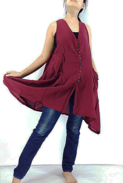 PRB10 Rayon Blouses Wraps Cloaks Tanks Tops Colorful Maroon