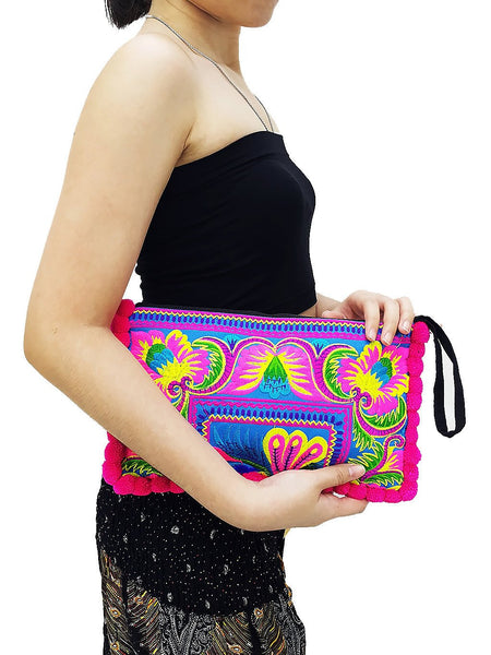 Thai Hill Tribe Bag Pom Pom Purse Hmong Bag Embroidered Ethnic Woven Bag Hippie Bag Tribal Clutch Handbags Blue Pink HTC11