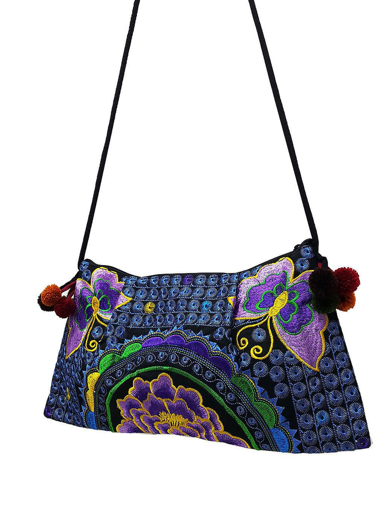 Hill Tribe Bag Pom Pom Hmong Bag Embroidered Ethnic Purse Woven Bag Hippie Clutch Sling Bag Crossbody Bag Butterfly Flower Purple Blue HTP6