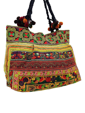 Hill Tribe Bag Pom Pom Hmong Thai Cotton Bag Embroidered Ethnic Purse Woven Bag Hippie Bag Hobo Bag Boho Bag Shoulder Bag Yellow Gold HTB2P9