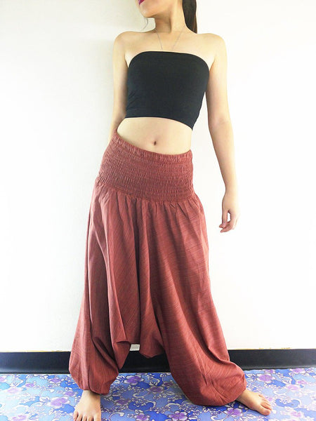 Harem Pants Yoga Pants Drop Crotch Aladdin Pants Maxi Pants Boho Pants Genie Pant Jumpsuit Harem Trousers Cotton Pants Brick Red (HC47)