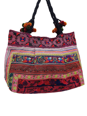 Hill Tribe Bag Pom Pom Hmong Thai Cotton Bag Embroidered Ethnic Purse Woven Bag Hippie Bag Hobo Bag Boho Bag Shoulder Bag Bird Red HTB2P10