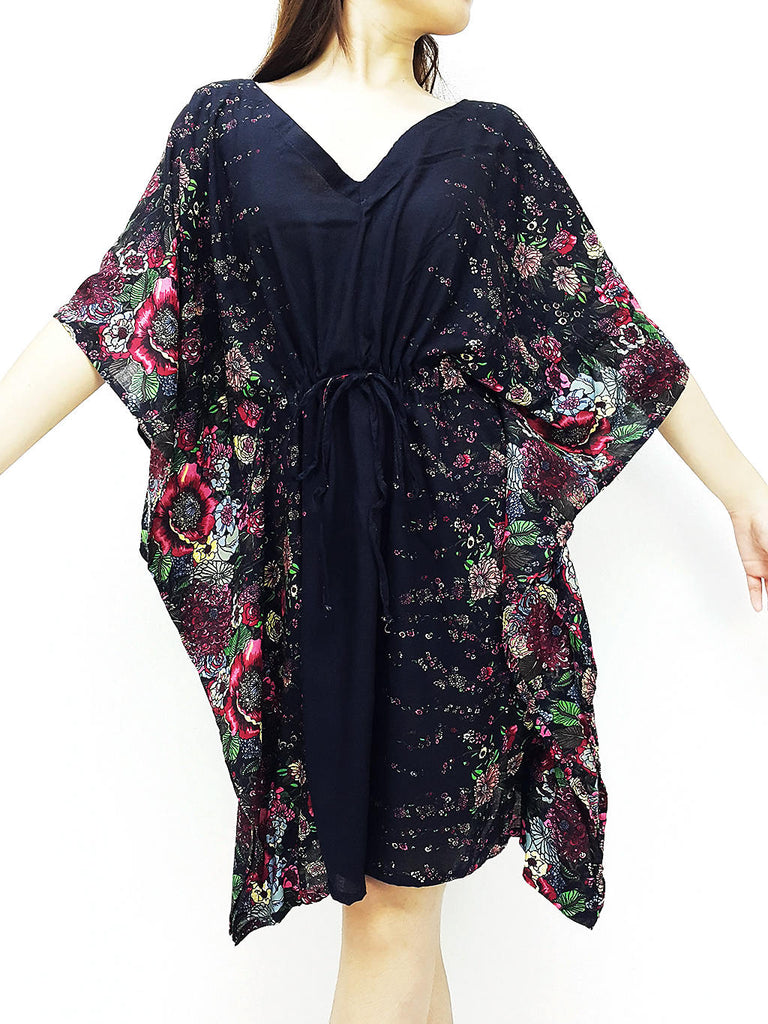 Plus Size, V neck, Rayon Kaftan, Beach Kaftan, Short Dress, Mini Dress, Tunic, Beach Cover, Printed Wrap, Boho Clothing, Black KPS21