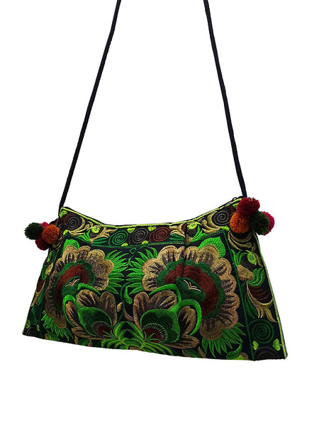 Thai Hill Tribe Bag Pom Pom Hmong Thai Bag Embroidered Ethnic Purse Woven Bag Hippie Bag Clutch Sling Bag Crossbody Bag Flower Green HTP14