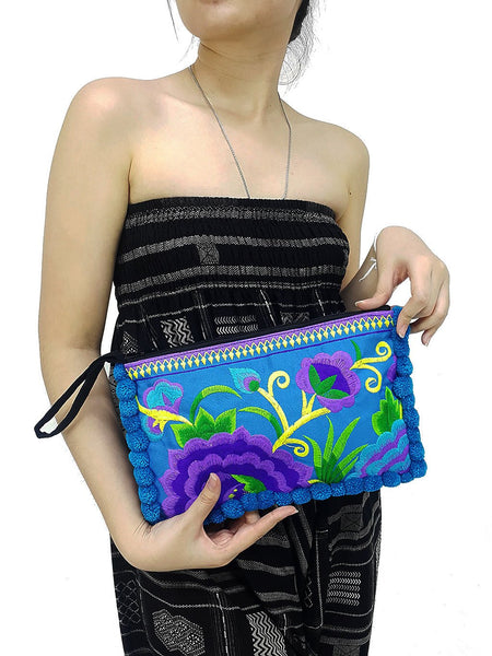 Thai Hill Tribe Bag Pom Pom Purse Hmong Bag Embroidered Ethnic Woven Bag Hippie Bag Tribal Clutch Handbags Flower Blue Purple HTC6
