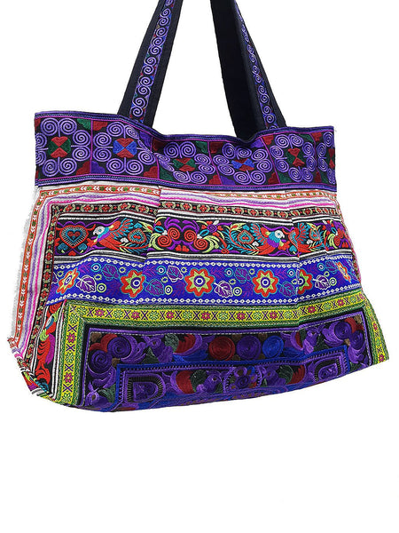 Thai Hill Tribe Bag Hmong Bag Cotton Bag Embroidered Ethnic Purse Woven Bag Hippie Bag Hobo Bag Boho Bag Shoulder Bag Bird Violet HTB2-6